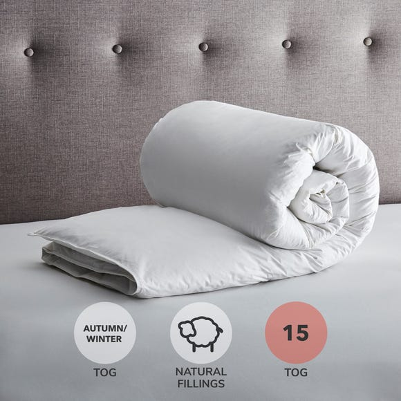 Fogarty Anti Allergy White Goose Feather and Down 15 Tog Duvet White undefined