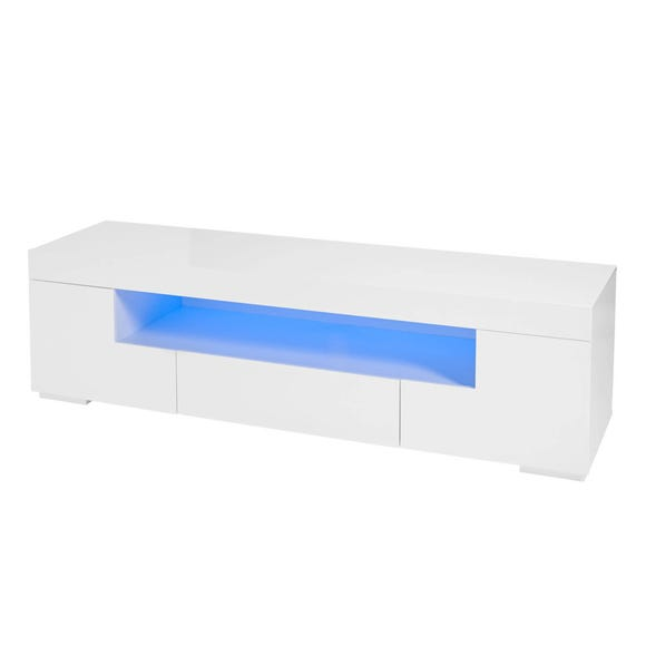 Milano White TV Stand with LED Lights White