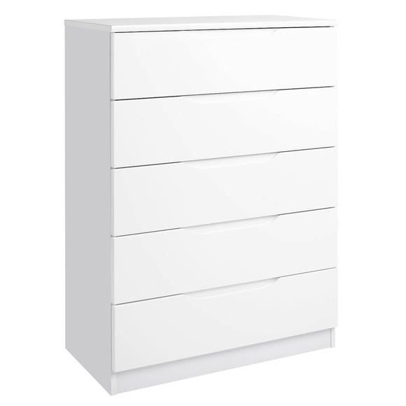 Legato White 5 Drawer Chest White