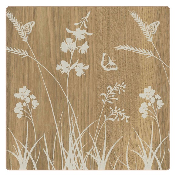 Set of 4 Wood Effect Placemats Natural