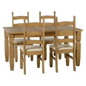 Corona Pine and Cream 4 Seater Dining Set