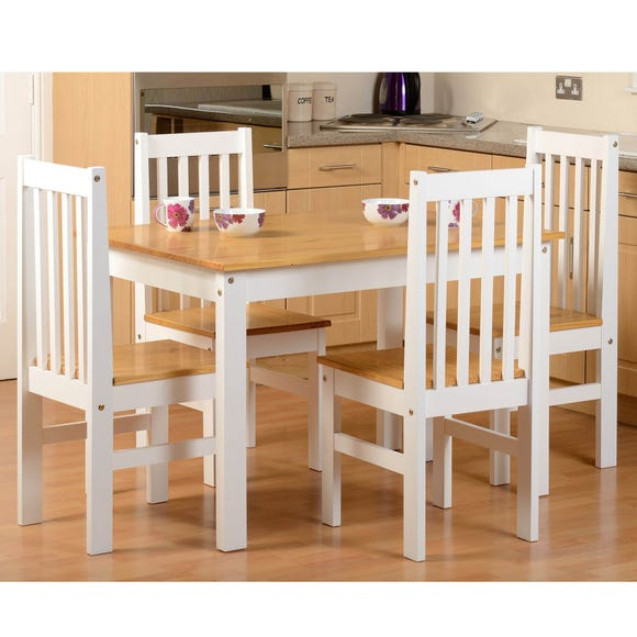 Ludlow White Pine 4 Seater Dining Set, Pine Dining Room Table And Chairs