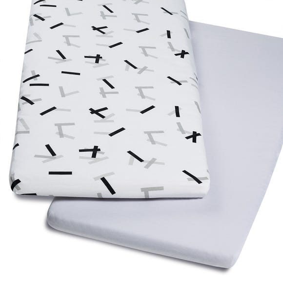 Snuz Crib Pack of Two Geo Mono White Fitted Sheets Grey