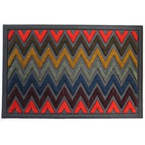 Scrape N' Sorb Multicoloured Zig Zag Doormat