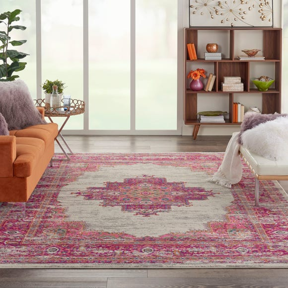 Ivory and Fuchsia Passion Rug  undefined