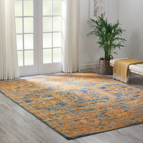 Teal Sun Passion Rug Yellow undefined