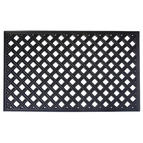 Trellis Black Rubber Doormat Black