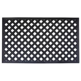 Trellis Black Rubber Doormat