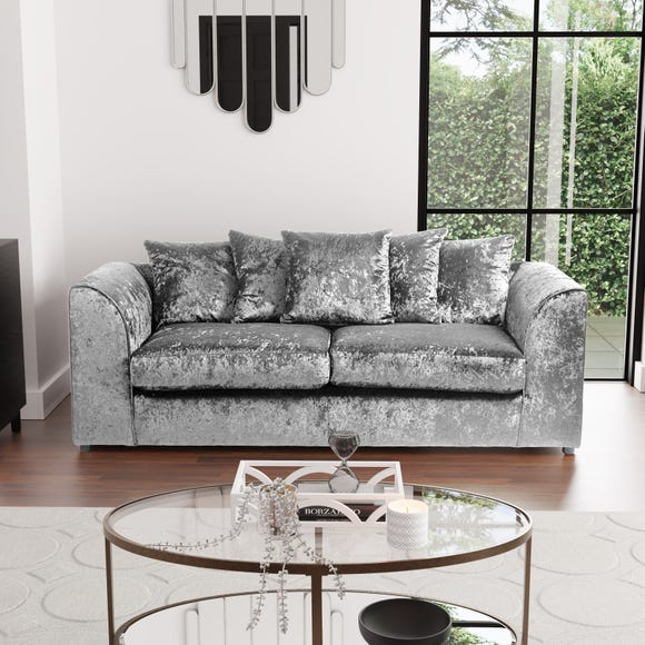 Michigan Crushed Velvet 3 Seater Sofa Silver