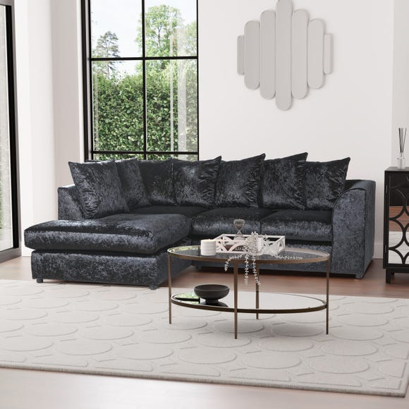 Blake Crushed Velvet Left Hand Corner Sofa Black