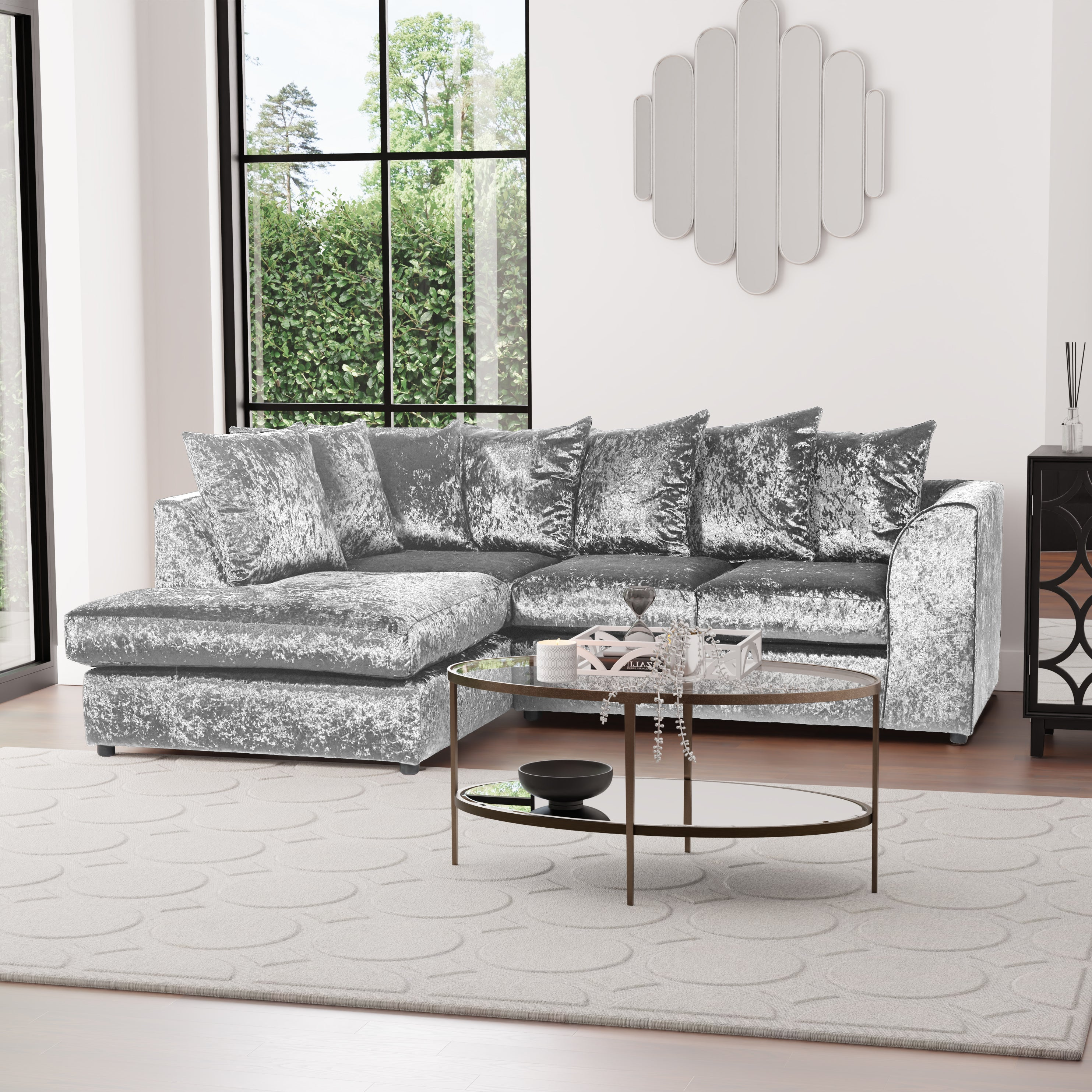The Original Sofa Company Blake Crushed Velvet Left Hand Corner Sofa Silver 76x215x166cm