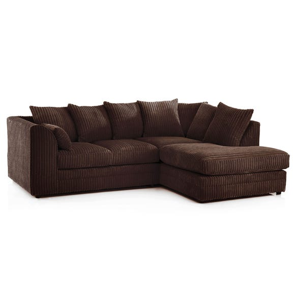Chicago Jumbo Cord Right Hand Corner Sofa Chocolate (Brown)