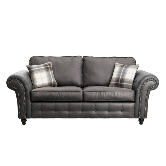 Oakland Faux Leather 3 Seater Sofa Black