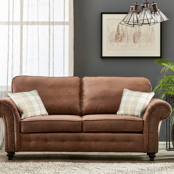 Oakland Faux Leather 3 Seater Sofa Brown