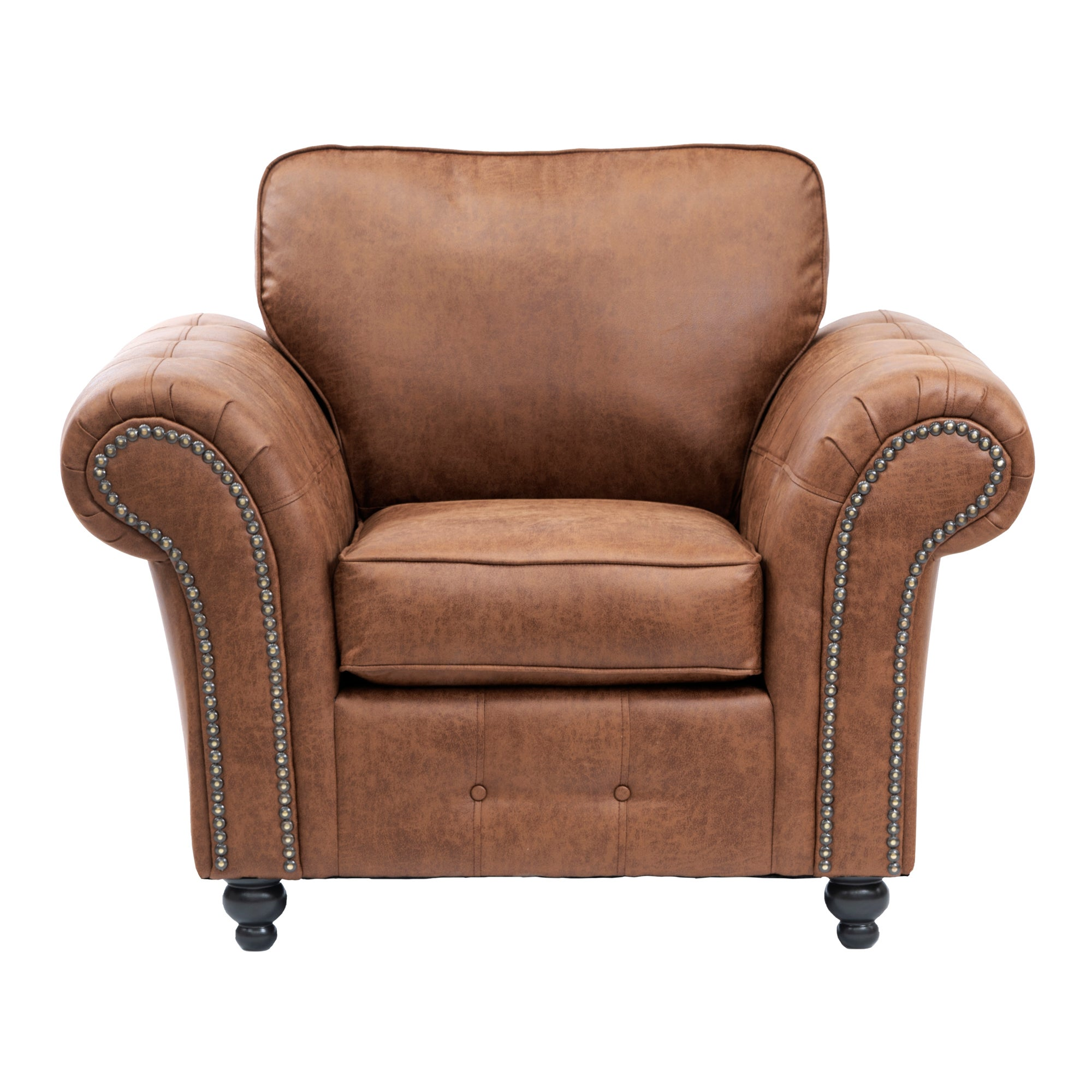 Oakland Faux Leather Armchair Brown