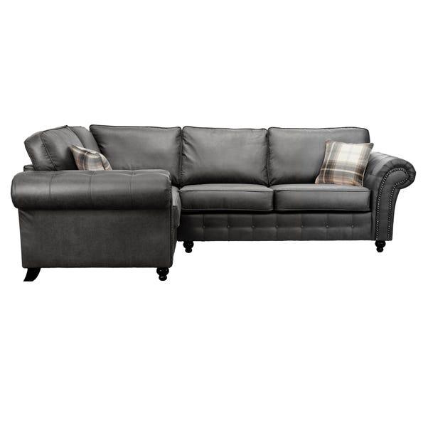 Oakland Left Hand Faux Leather Corner Sofa Black
