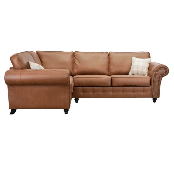 Oakland Left Hand Faux Leather Corner Sofa Brown