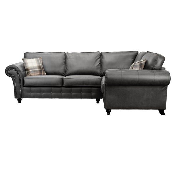 Oakland Right Hand Faux Leather Corner Sofa Black