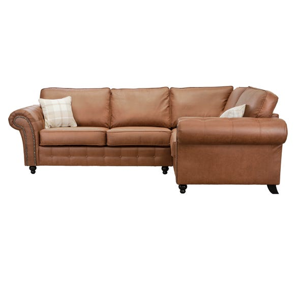 Oakland Right Hand Faux Leather Corner Sofa Brown