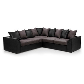 Denver Large Black and Grey Corner Sofa