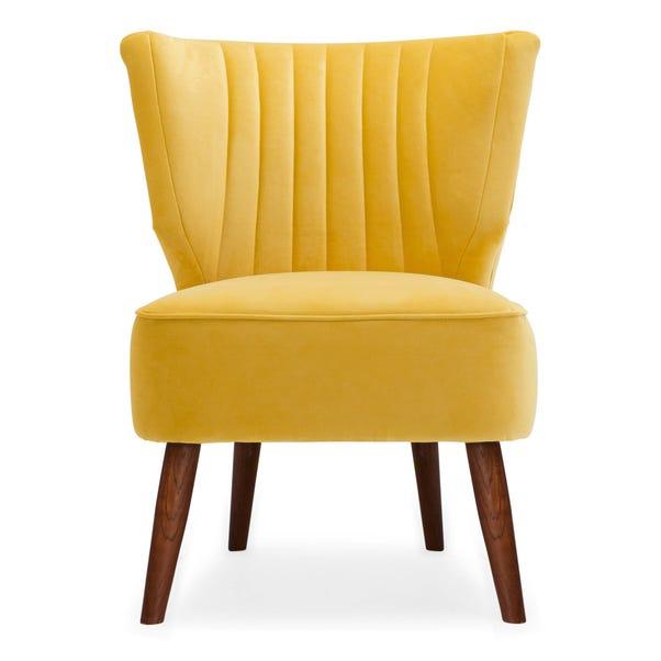 Eva Velvet Wingback Cocktail Chair Yellow Eva