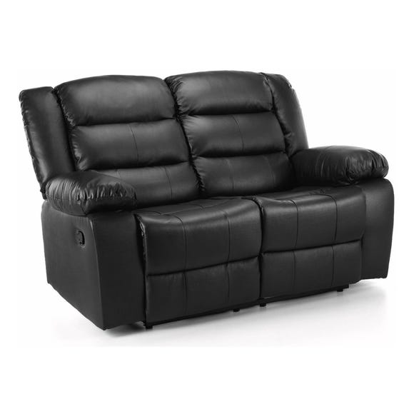 Whitfield 2 Seater Leather Reclining Sofa Black
