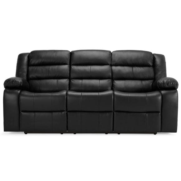 Whitfield 3 Seater Leather Reclining Sofa Black