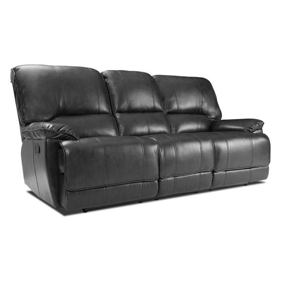 Pippa 3 Seater Leather Reclining Sofa Black