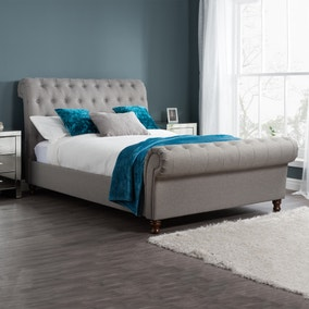 Castello Grey Sleigh Fabric Bed Frame