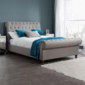 Castello Grey Sleigh Fabric Bed Frame