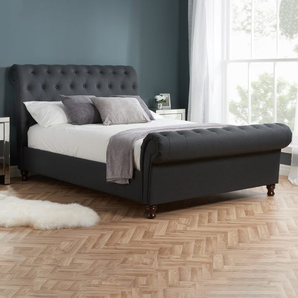 Castello Charcoal Sleigh Fabric Bed Frame Charcoal undefined