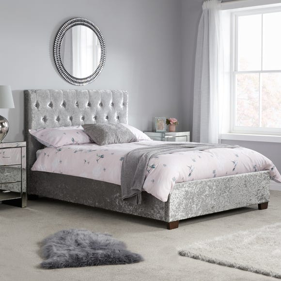 Cologne Crushed Velvet Bed Frame Grey undefined