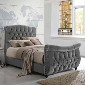 Lachelle Grey Velvet Upholstered Bed Frame