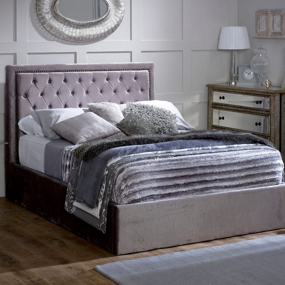 Rhea Silver Upholstered Ottoman Bed Silver undefined