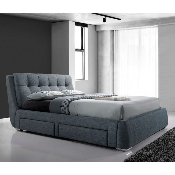Artisan Fabric Bed with 4 Drawers Grey undefined