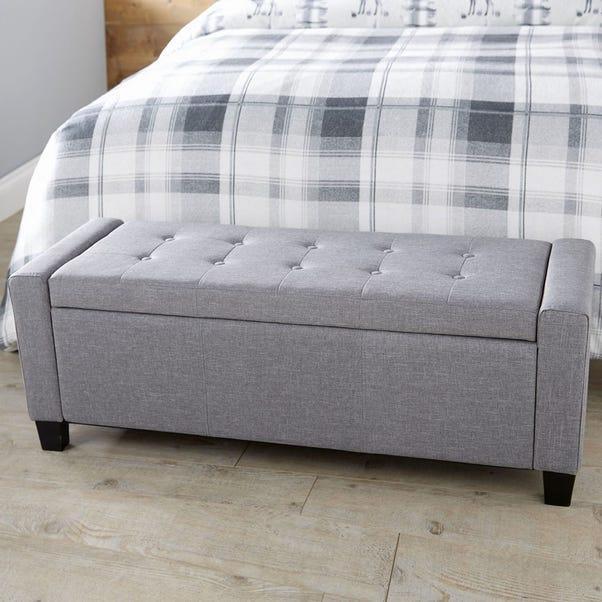 Verona Upholstered Ottoman in Grey