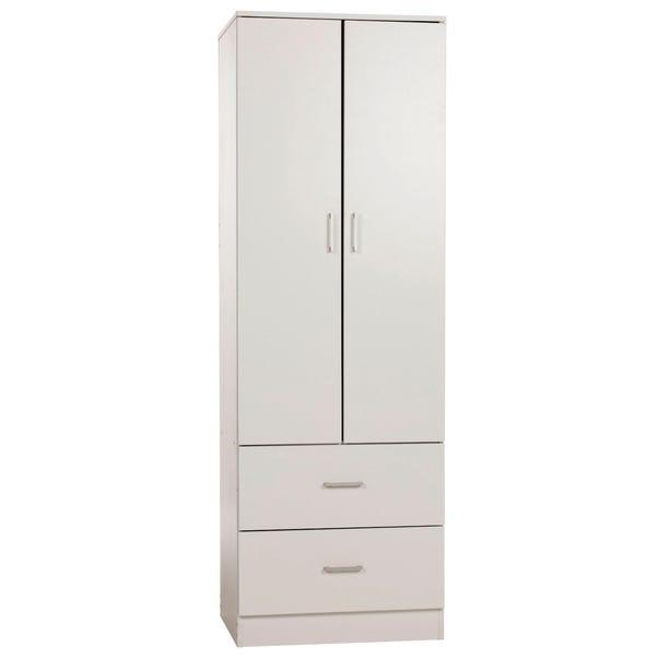 Charles 2 Door 2 Drawer Wardrobe White