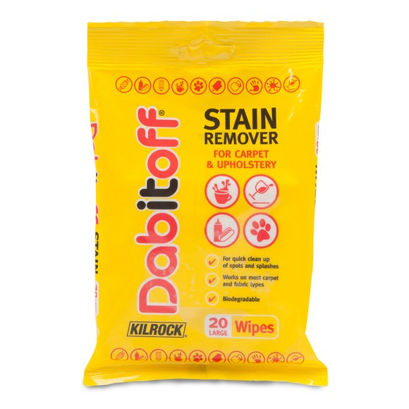 Kilrock Dabitoff Pack of 20 Carpet & Upholstery Wipes Yellow