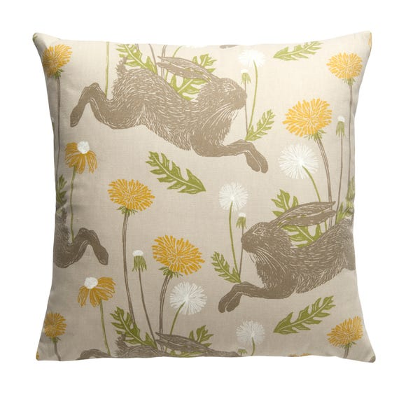 Jumping Hare 43cm x 43cm Cushion Cover Multi Coloured
