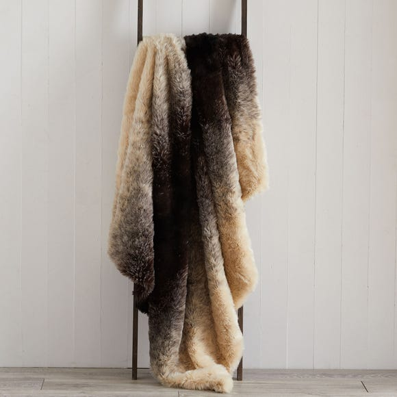 Ombre Faux Fur 150cm x 200cm Throw Brown