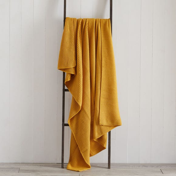 Chunky Knit Breckon Ochre Throw  undefined