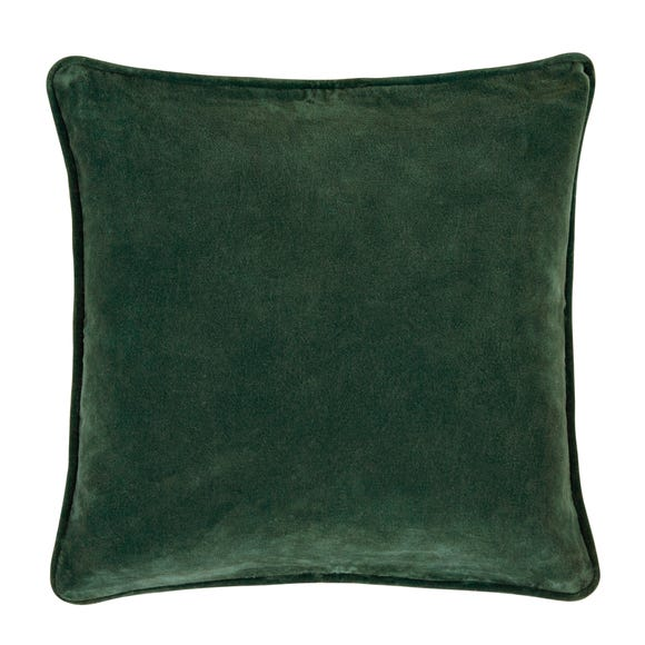 Clara Cotton Velvet Cushion Emerald (Green) undefined