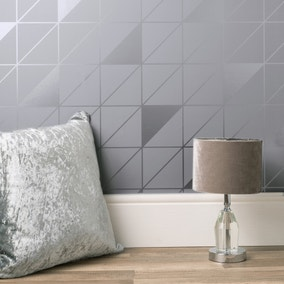 Geo Grey Metallic Wallpaper