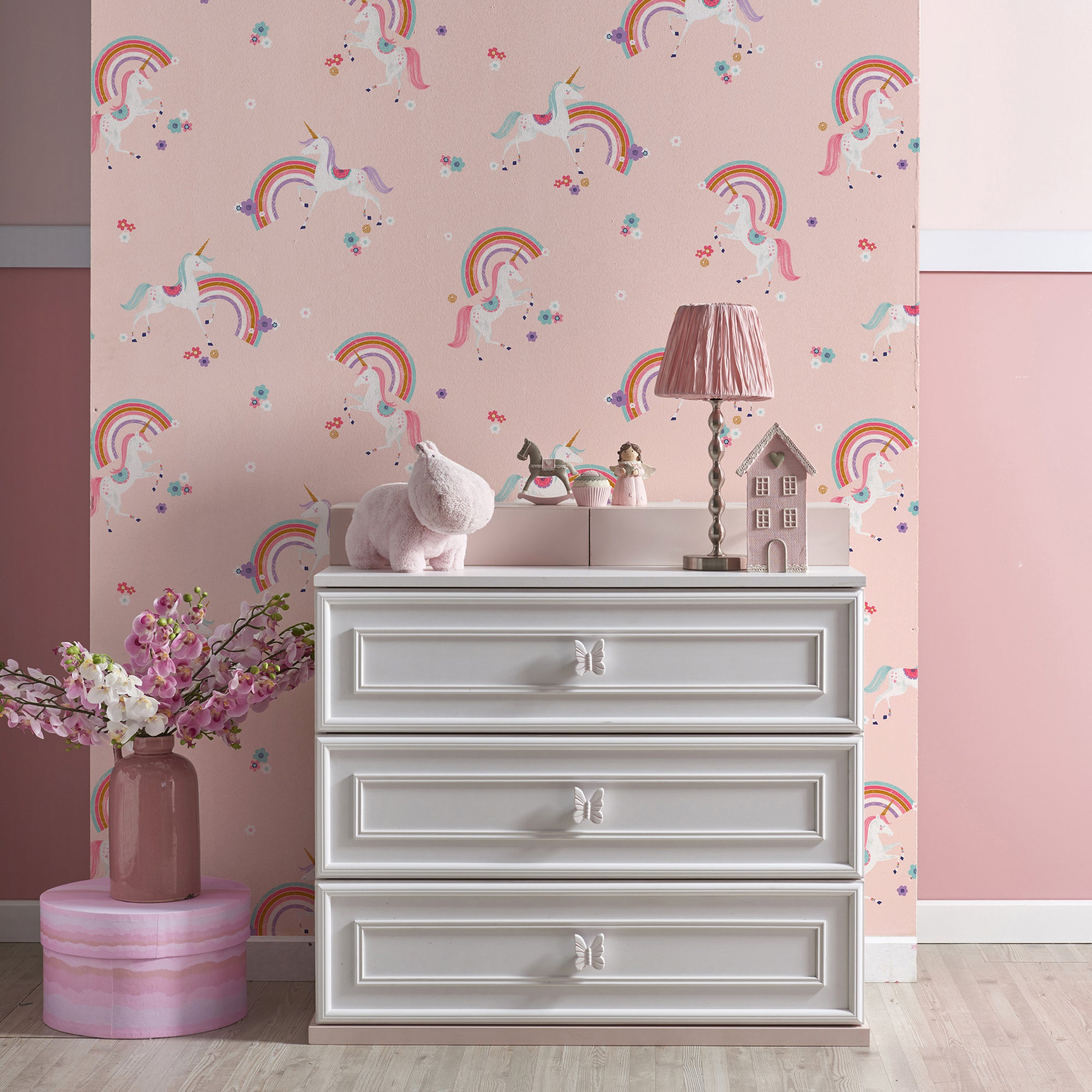 Click to view product details and reviews for Metallic Unicorn Wallpaper Pink.