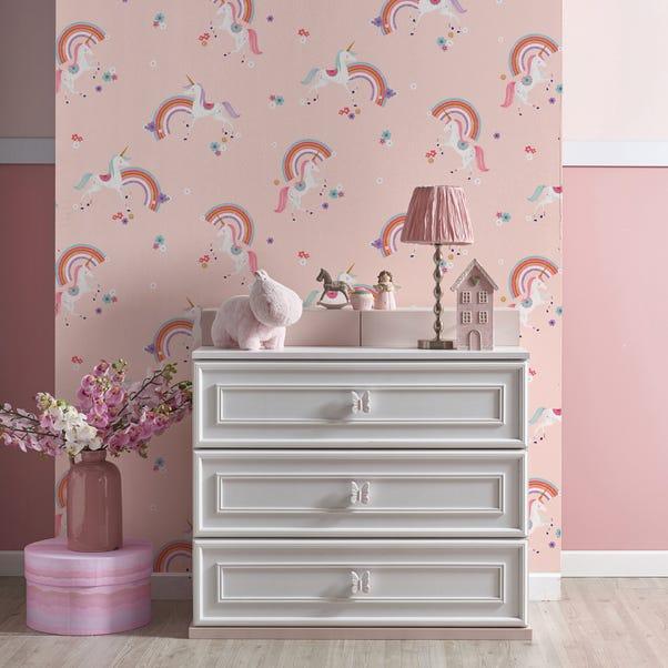 Metallic Unicorn Wallpaper Pink