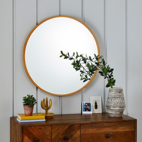 Wooden Round Wall Mirror 71cm Natural
