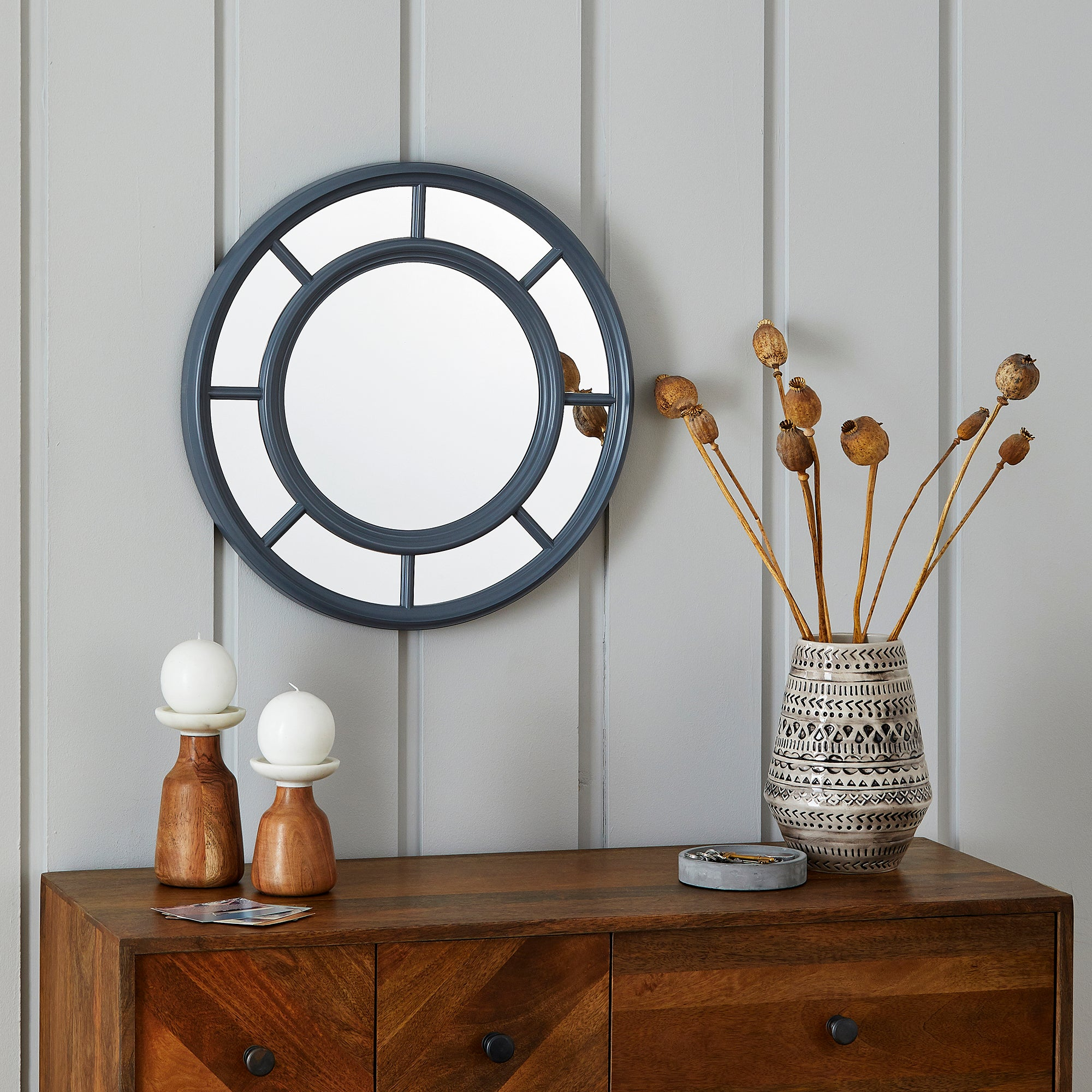 Click to view product details and reviews for Circle Window Wall Mirror 52cm Grey Grey.