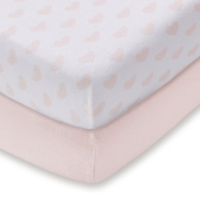 Pack of 2 Pink Heart 100% Cotton Jersey Cot Fitted Sheets