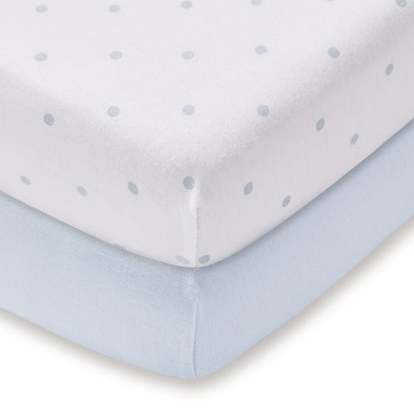Pack of 2 Blue 100% Cotton Jersey Cot Fitted Sheets