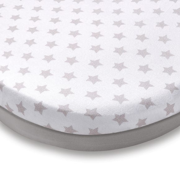 Pack of 2 Grey Star Jersey 100% Cotton Moses Basket Fitted Sheets Grey